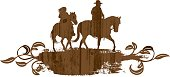 Western horse and rider on a wood label with elegant flourishes.
