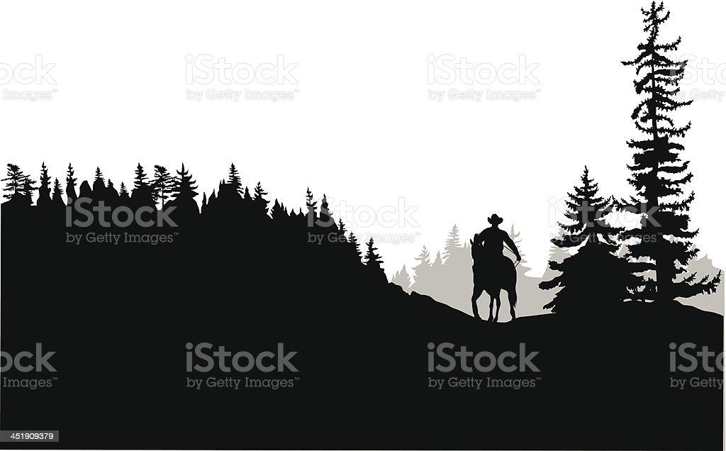 Horseback vector art illustration