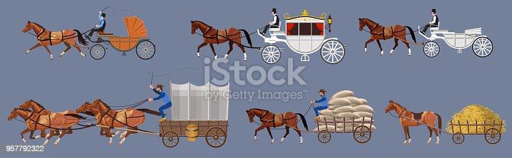 Set of vector horse-drawn vehicle. Vector illustration