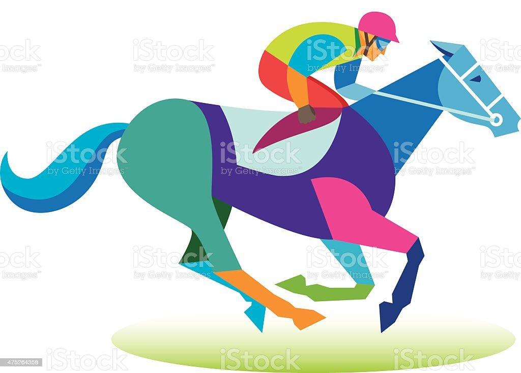 horse.jockey vector art illustration