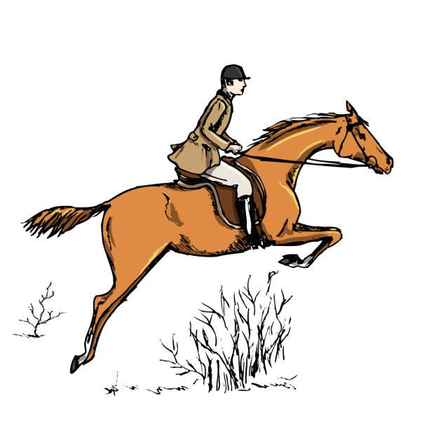 reiter-reiter. englischen stil historischen reiten mann. - langstreckenlauf stock-grafiken, -clipart, -cartoons und -symbole