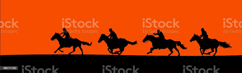 Horsemen Silhouette Panorama (vector) vector art illustration