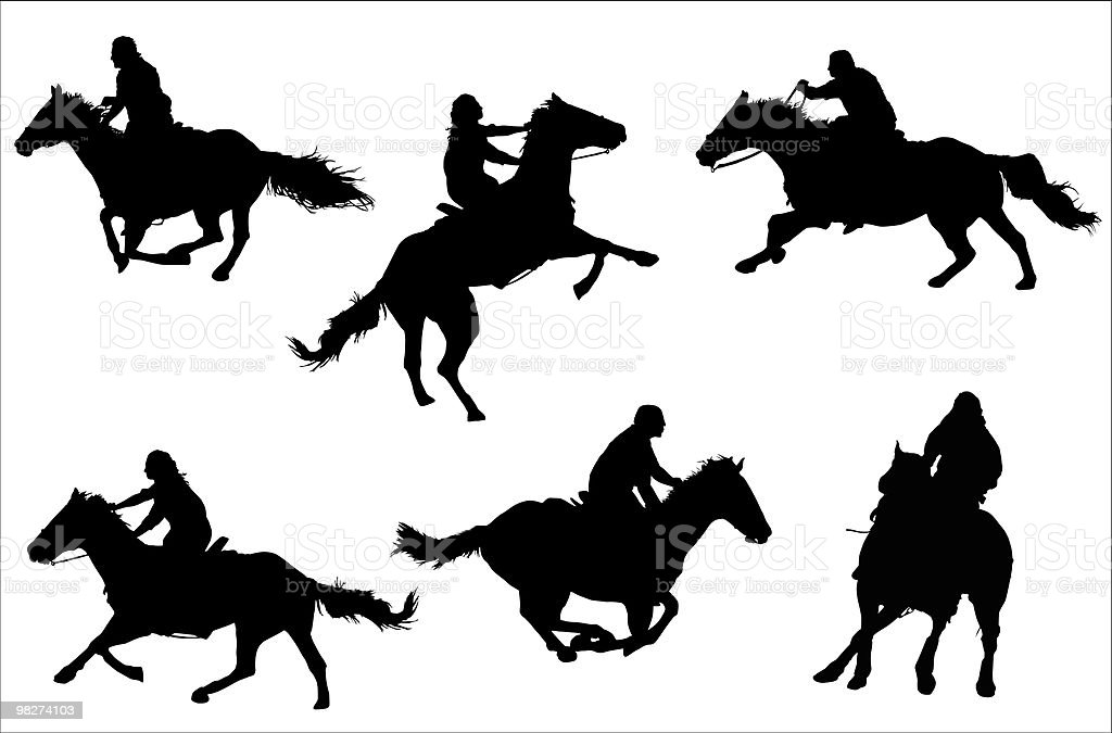 Horsemen Silhouettes (vector) royalty-free horsemen silhouettes stock vector art & more images of activity