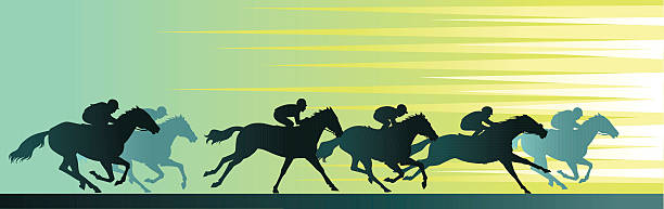競馬バナー、クローズアップの馬のシルエット ベクターアートイラスト