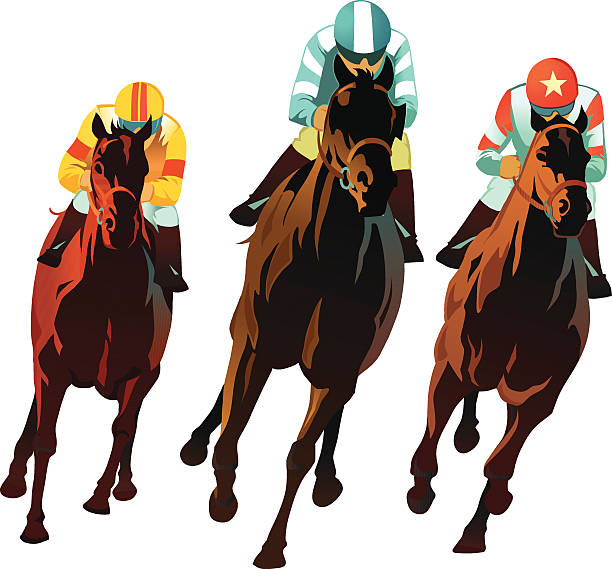 horseracing - front view of horses racing - horse racing stock illustrations