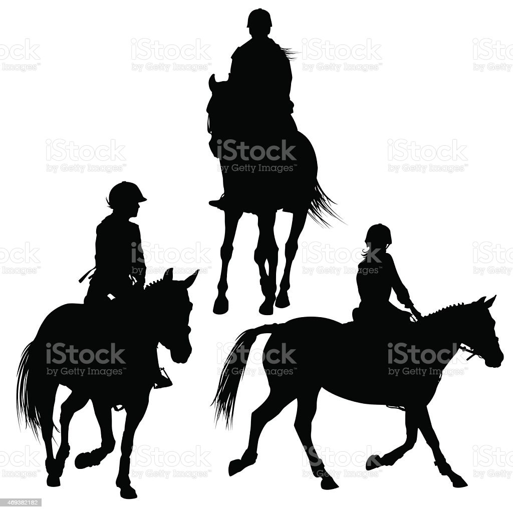 Horserider silhouettes vector art illustration