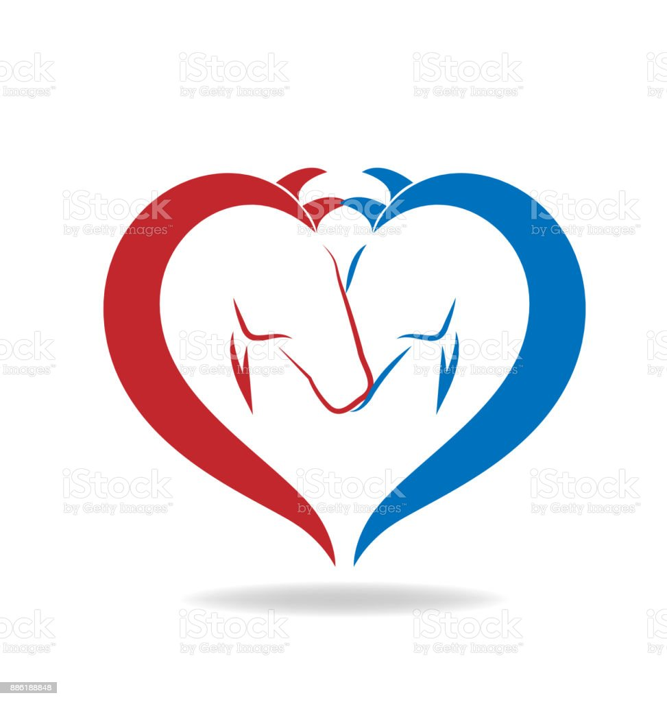 Horses in love vector icon vector art illustration