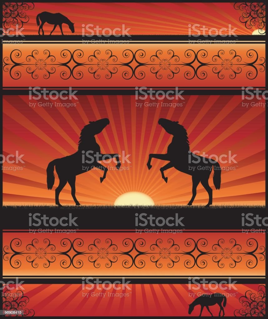 Horses in the sunset/sunrise royalty-free horses in the sunsetsunrise stock vector art & more images of animals in the wild