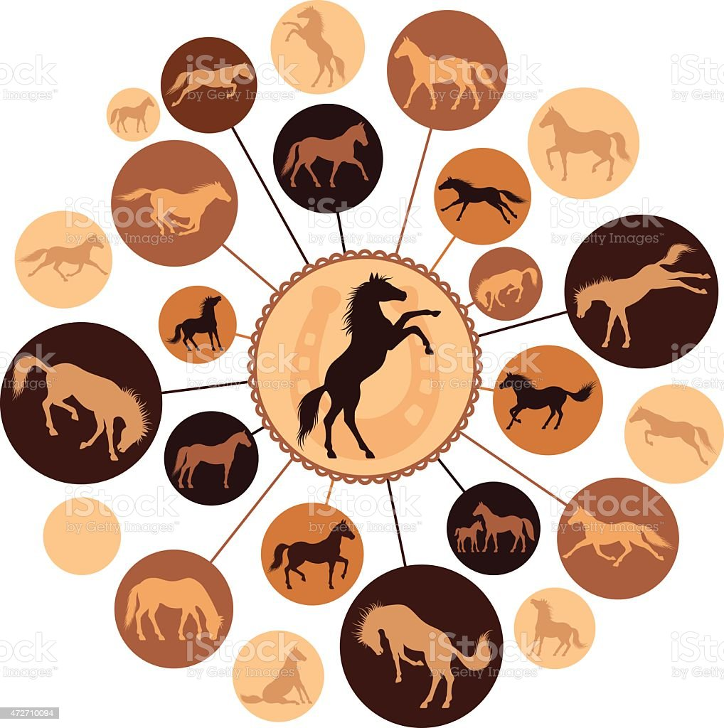 Horses Montage vector art illustration