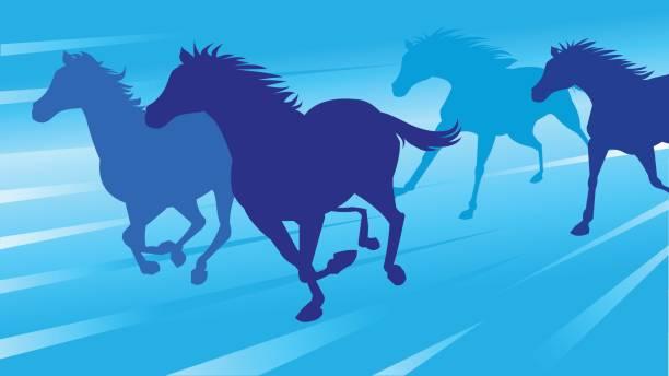 pferde laufen silhouette in blauem hintergrund - mustangs stock-grafiken, -clipart, -cartoons und -symbole