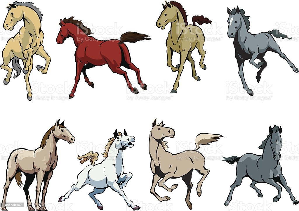 Horses royalty-free horses stock vector art & more images of animal