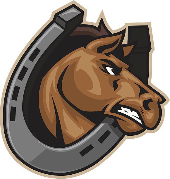 horseshoe und pferd - mustangs stock-grafiken, -clipart, -cartoons und -symbole