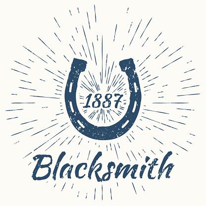 horseshoe and vintage sun burst frame. Blacksmith emblem