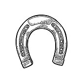 Horseshoe. Vintage vector engraving illustration for info graphic, poster, web. Isolated on white background