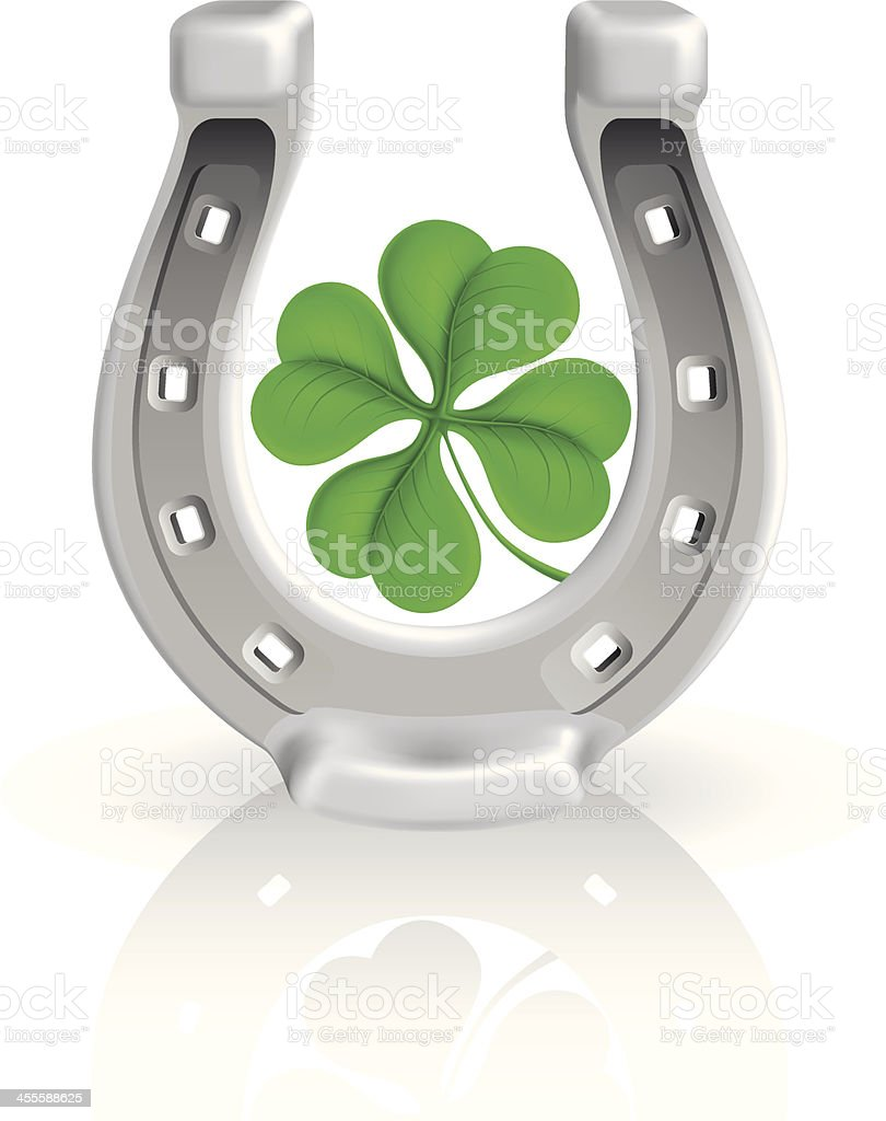 Horseshoe with Clover royalty-free stock vector art