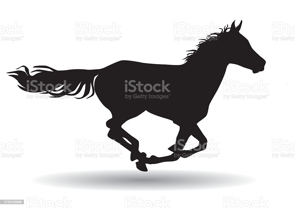 horse,silhouette on a white background vector art illustration