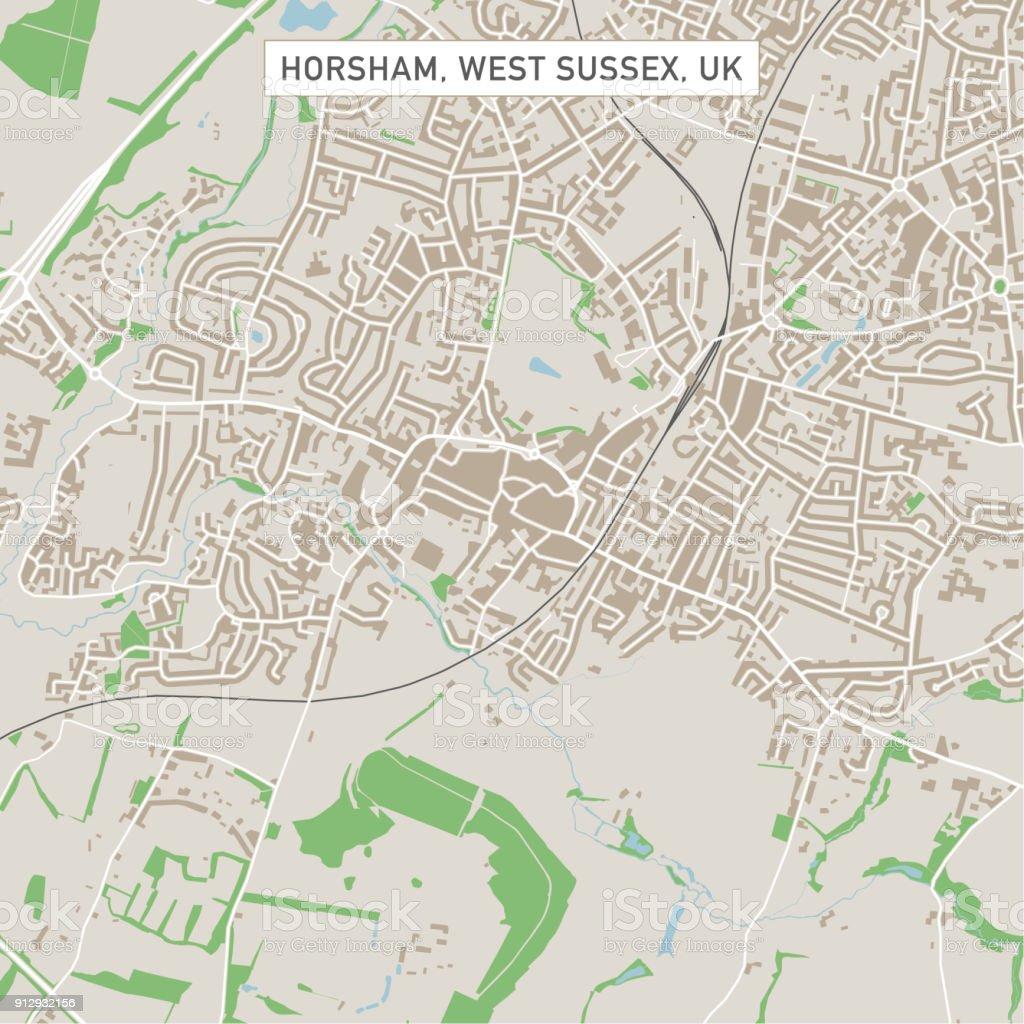 Horsham West Sussex UK City Street Map vector art illustration