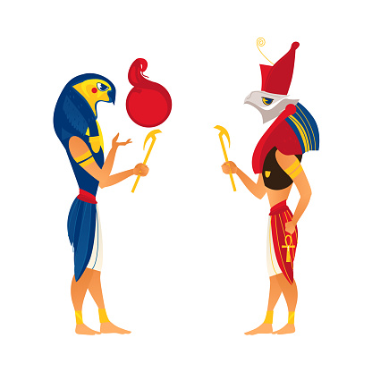 Horus and Ra, gods of ancient Egypt religion