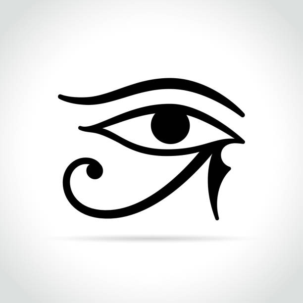 horus eye icon on white background - freemasons stock illustrations