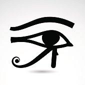 Vector illustration: egyptian symbol of Horus eye on white background.