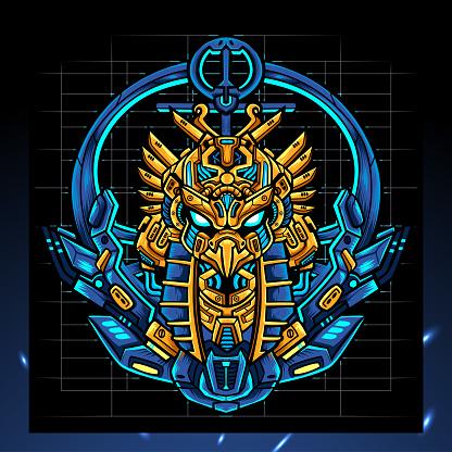 Horus head mecha mascot. esport logo design