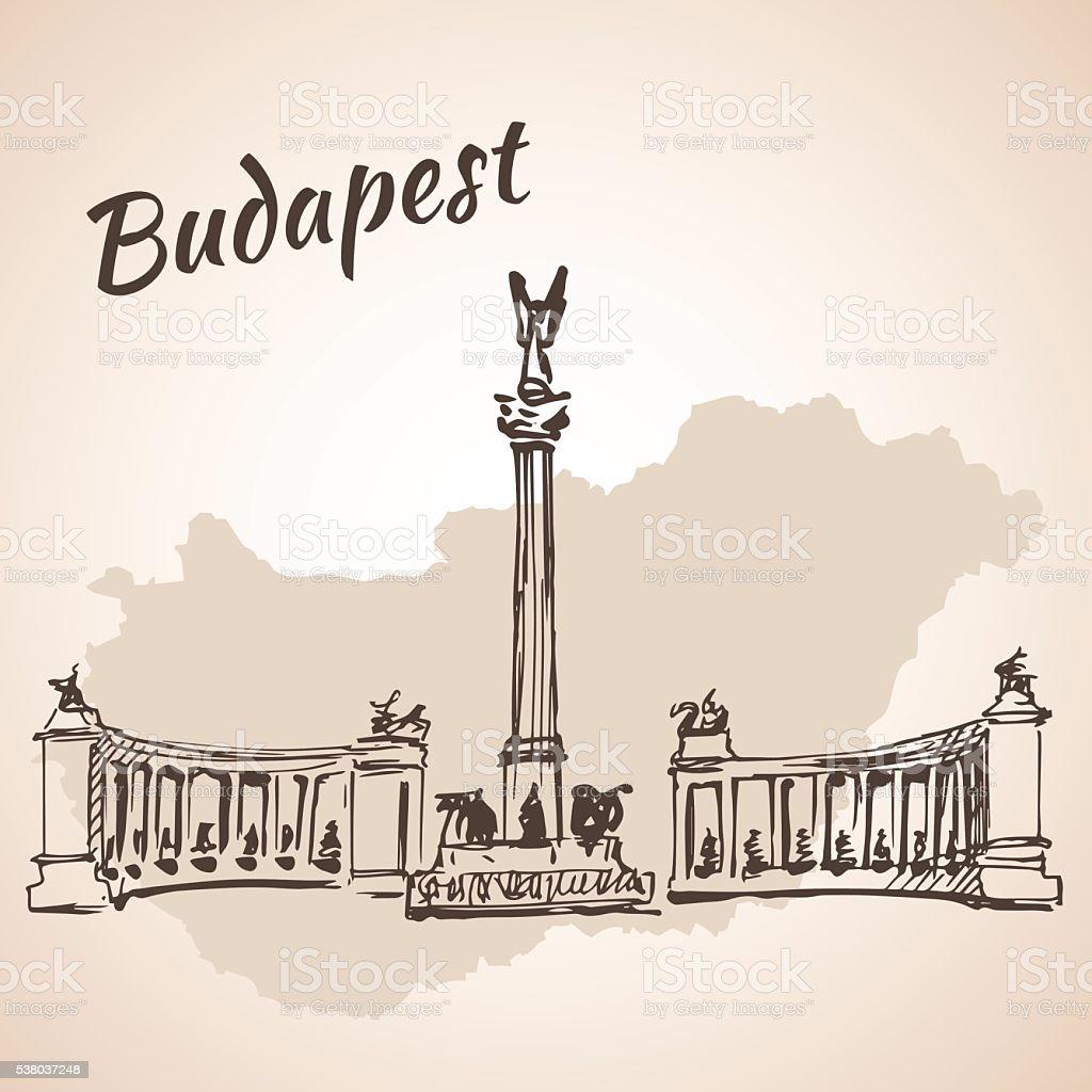 Hosok tere-wichtigsten Plätze in Budapest, Ungarn – Vektorgrafik