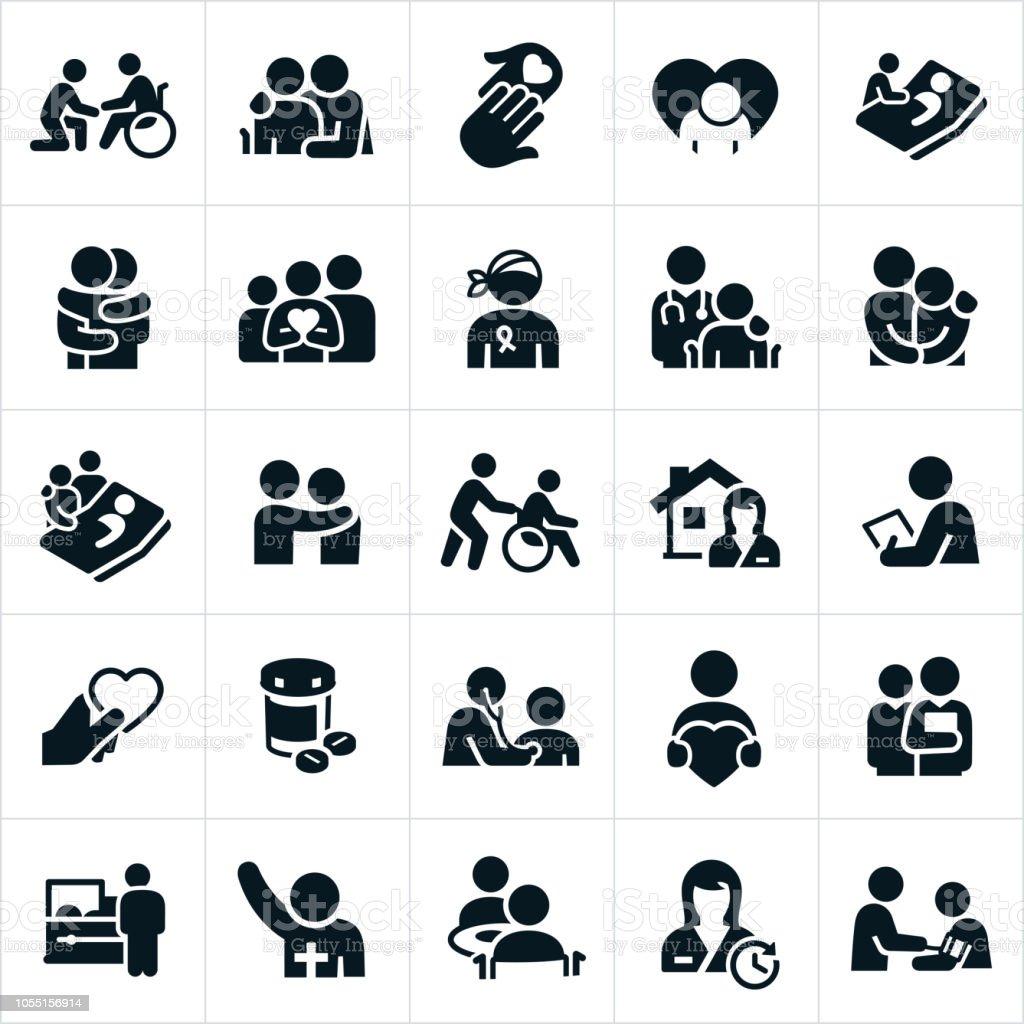 臨終關懷和姑息醫療保健圖示 - 免版稅人圖庫向量圖形