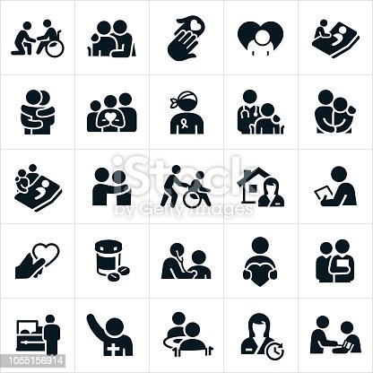 An icon set representing the hospice and palliative care healthcare industry. The icons include elderly people receiving care, a cancer patient, patients in wheelchairs, symbols of hope, family grieving, family support, patients in bed, patients suffering from life threatening illnesses, healthcare professionals, nurses, social workers, medical exams, home care, medication, religious leader and death to name just a few.