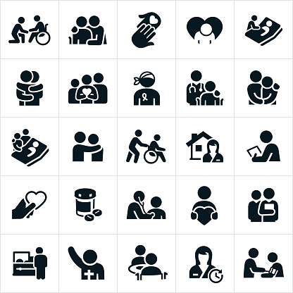 臨終關懷和姑息醫療保健圖示向量圖形及更多人圖片