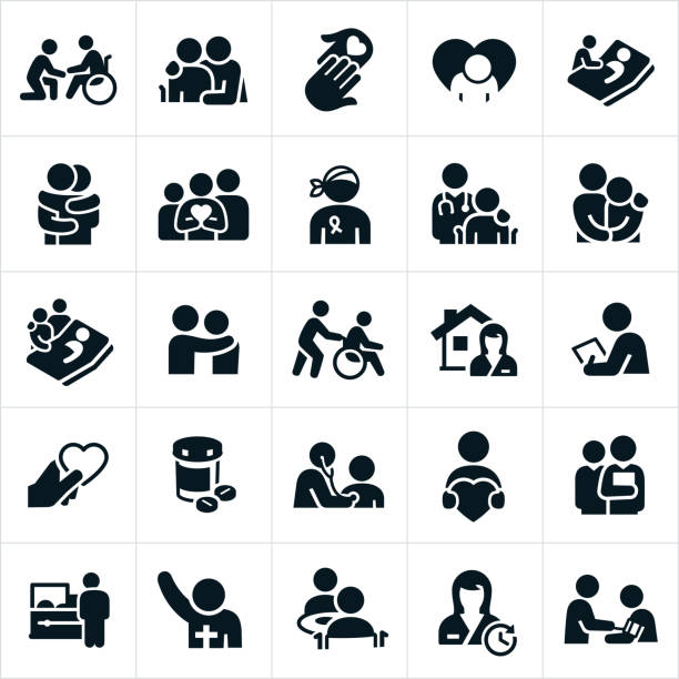 hospice and palliative healthcare icons - happy family stock illustrations