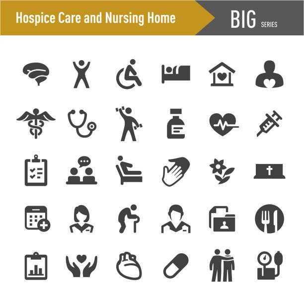 hospice care and nursing home icons - big series - проживание с уходом stock illustrations