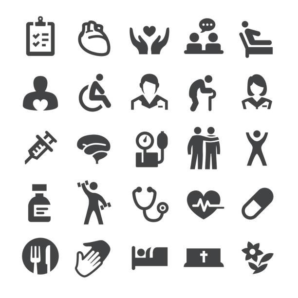 Hospice Care and Nursing Home Icons - Smart Series Hospice Care and Nursing Home Icons physical therapy stock illustrations