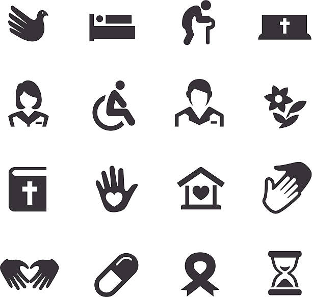 hospice care icons - acme series - care home stock illustrations