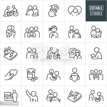 A set of hospice icons that include editable strokes or outlines using the EPS vector file. The icons include patients and health care workers in different situations. They include a person visiting an elderly family member who is constrained to a wheelchair, a person with arm around an elderly person in wheelchair, two hands touching, a sad person, two people hugging, family holding a heart, cancer patient, doctor with hand on shoulder of patient, person consoling a sad patient, two friends or family visiting a sick patient in bed, person pushing another person in wheelchair, home health care worker, health care professional doing a checkup, prescription medication, doctor checking heart of patient with stethoscope, health care team, nursing home, person visiting the casket of a friend or loved on at a funeral, priest or other religious leader, patient getting blood pressure checked and other related icons.