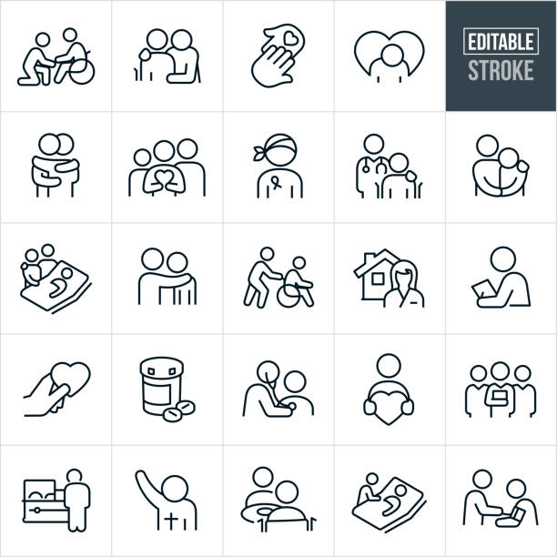 Hospice Thin Line Icons - Editable Stroke A set of hospice icons that include editable strokes or outlines using the EPS vector file. The icons include patients and health care workers in different situations. They include a person visiting an elderly family member who is constrained to a wheelchair, a person with arm around an elderly person in wheelchair, two hands touching, a sad person, two people hugging, family holding a heart, cancer patient, doctor with hand on shoulder of patient, person consoling a sad patient, two friends or family visiting a sick patient in bed, person pushing another person in wheelchair, home health care worker, health care professional doing a checkup, prescription medication, doctor checking heart of patient with stethoscope, health care team, nursing home, person visiting the casket of a friend or loved on at a funeral, priest or other religious leader, patient getting blood pressure checked and other related icons. death stock illustrations
