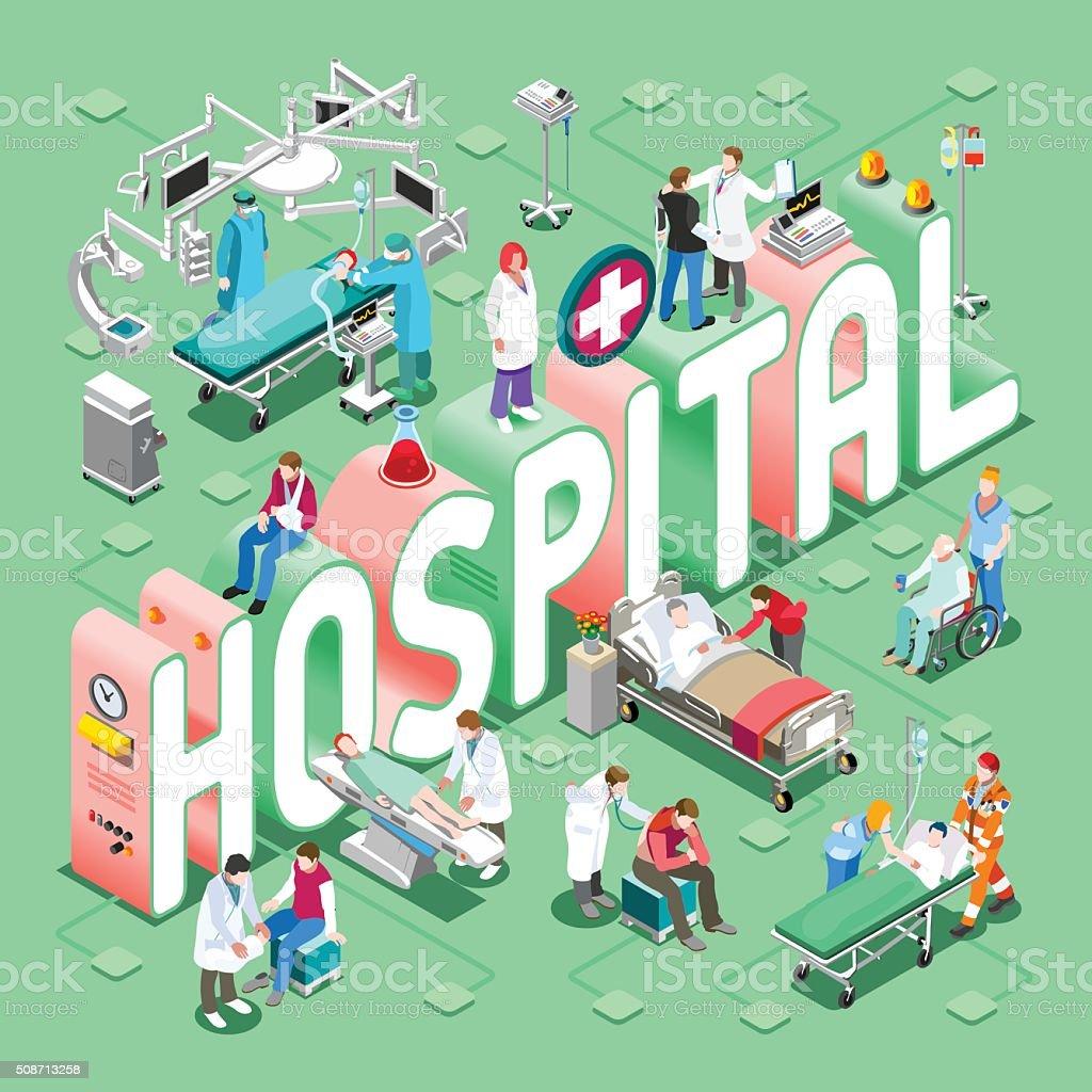 Hospital 01 Concept Isometric vector art illustration