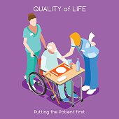 Healthcare Quality of Life as First Aim. QoL as First Care. Patient Disease Hospitalization Medical Insurance Hospital. Old Patient with Nurse Staff. NEW bright palette 3D Flat Vector People