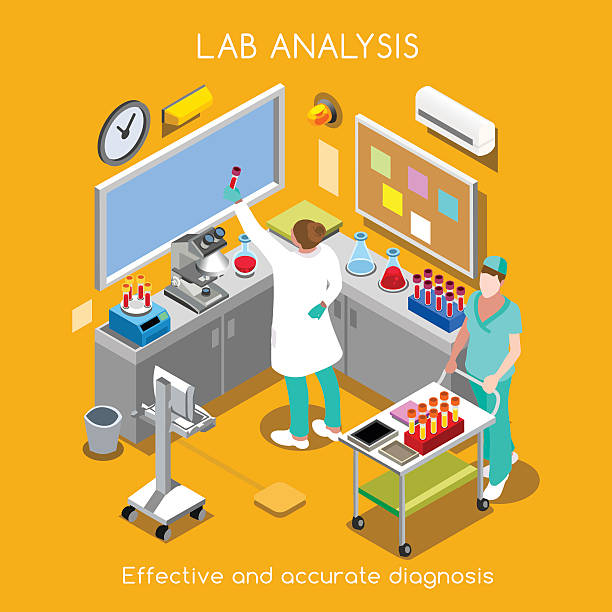 Hospital 07 People Isometric Healthcare Laboratory Blood and Specimen Service Services. Hospital Lab Departments Blood Bank Chemistry Hematology Pathology Migrobiology Staff. NEW bright palette 3D Flat Vector People specimen holder stock illustrations
