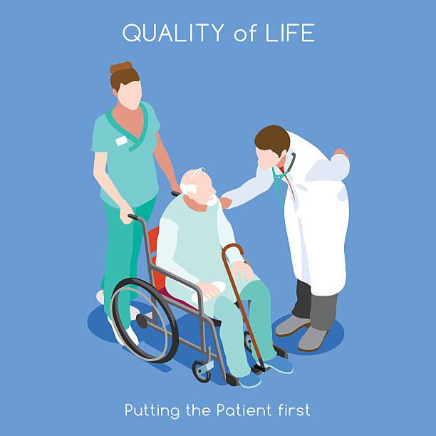 illustrazioni stock, clip art, cartoni animati e icone di tendenza di ospedale 10 persone isometrici - prendersi cura del corpo