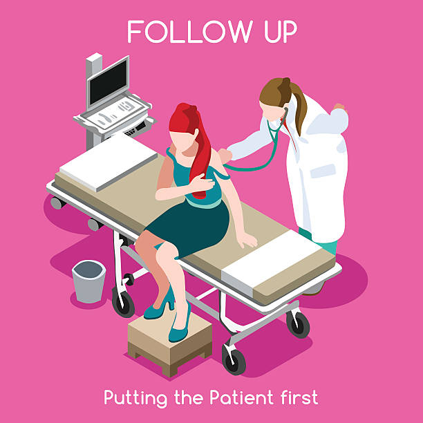hospital 16 people isometric - cancer patient stock illustrations