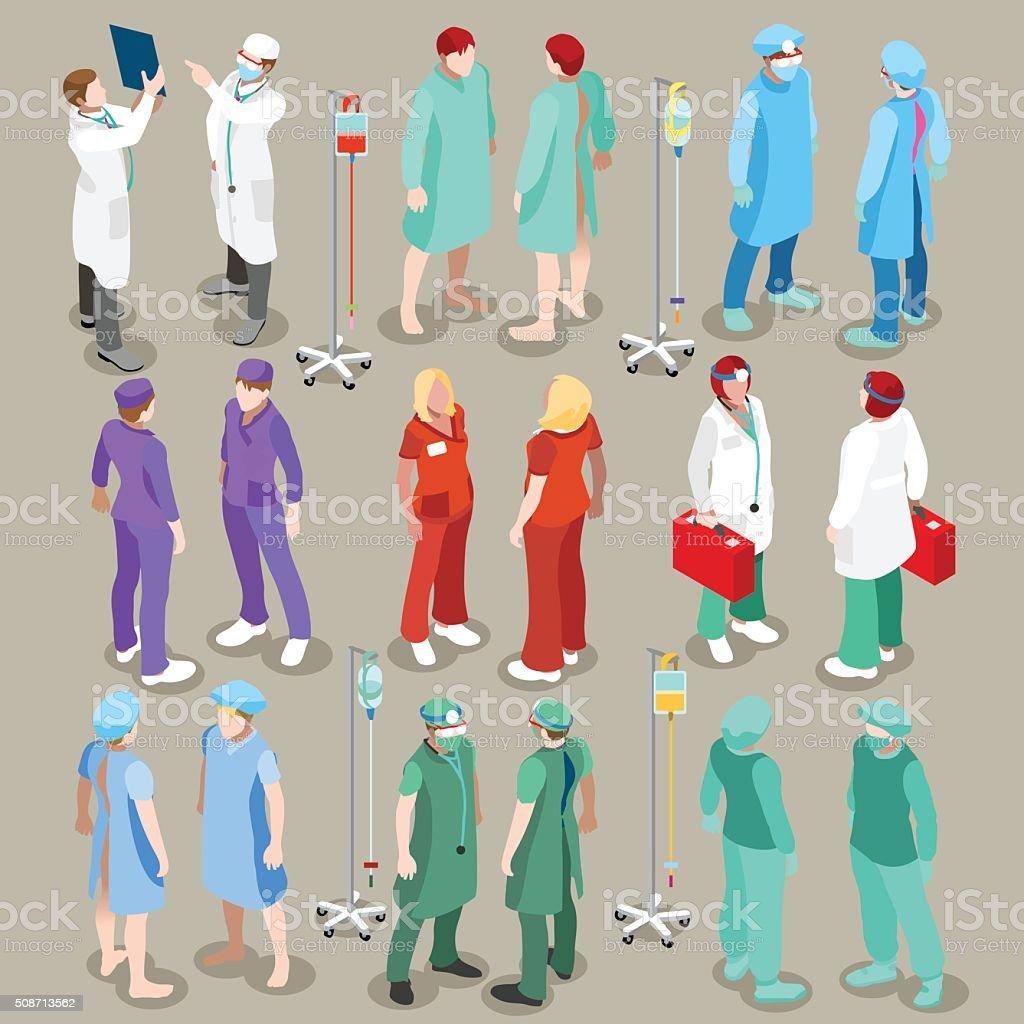 Hospital 21 People Isometric - 免版稅互聯網圖庫向量圖形