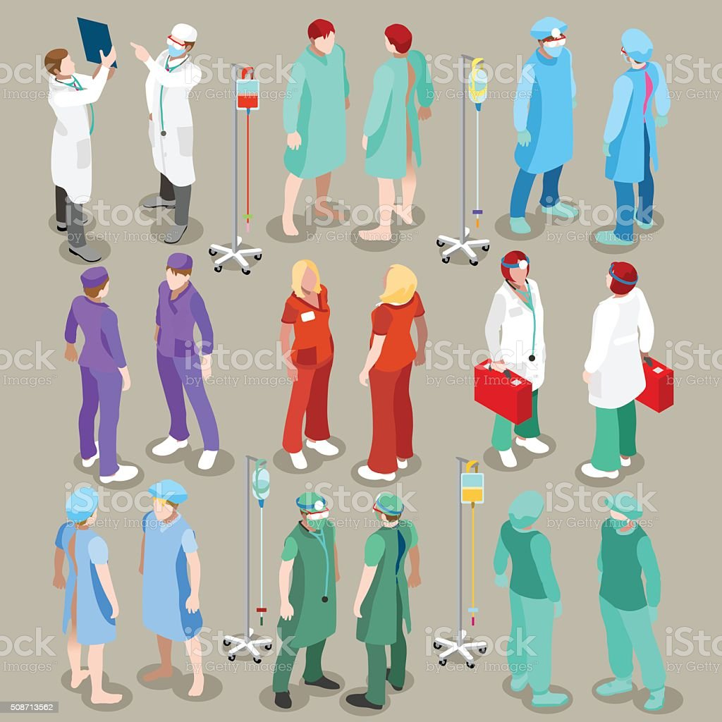 Krankenhaus 21 Personen isometrische – Vektorgrafik