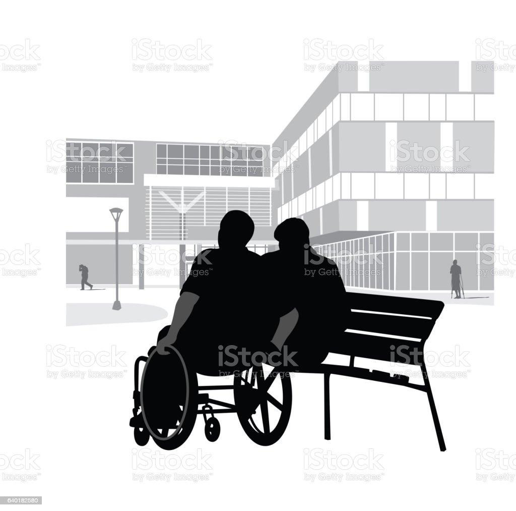 Hospital And Family Support Vector Silhouette – Vektorgrafik