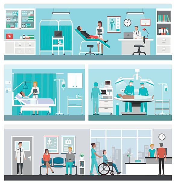 hospital and healthcare banner set - receptionist stock illustrations, clip art, cartoons, & icons