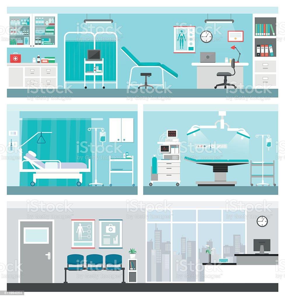 Hospital e cuidados de saúde - ilustração de arte em vetor