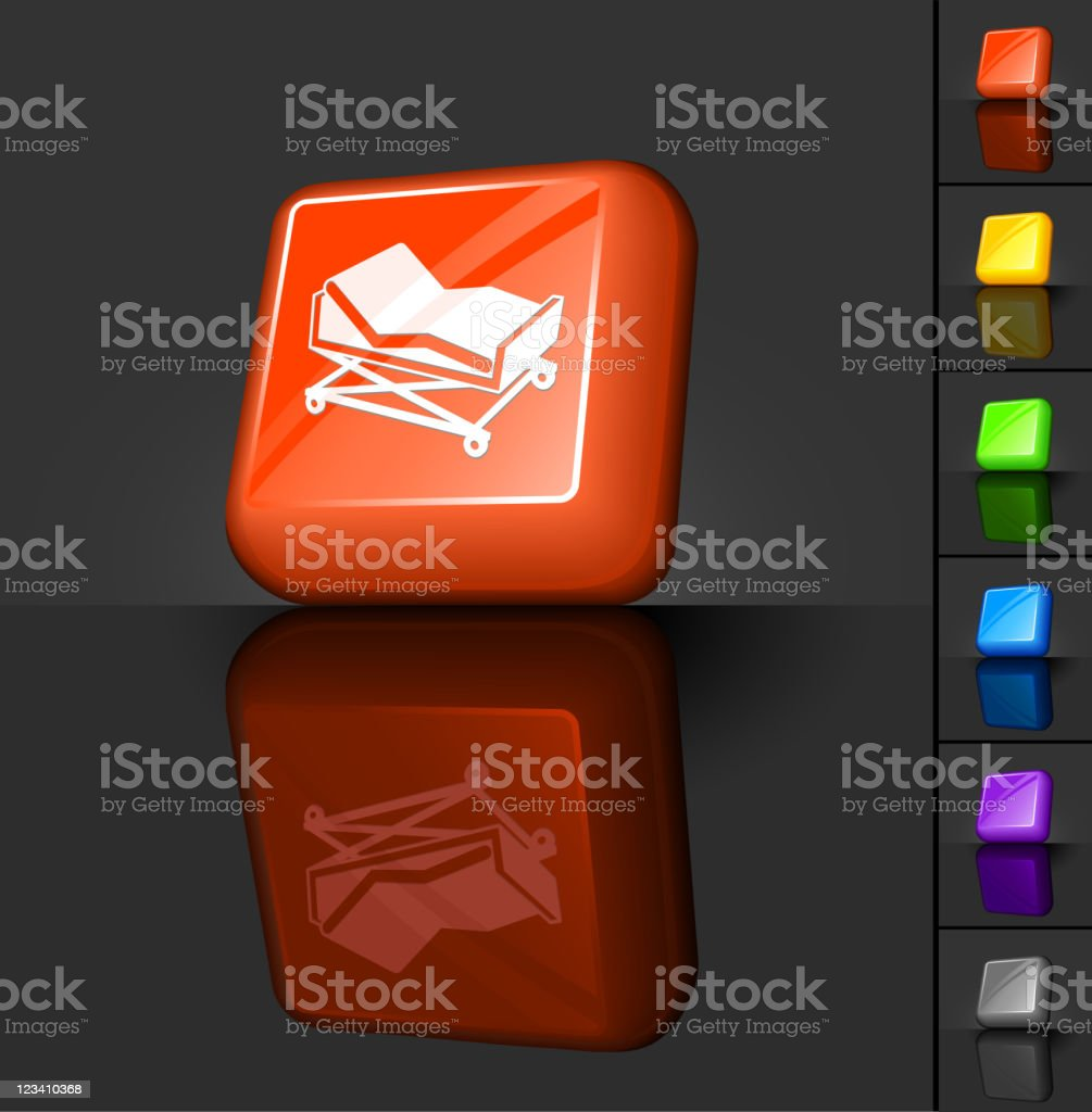 hospital bed 3D button design royalty-free stock vector art