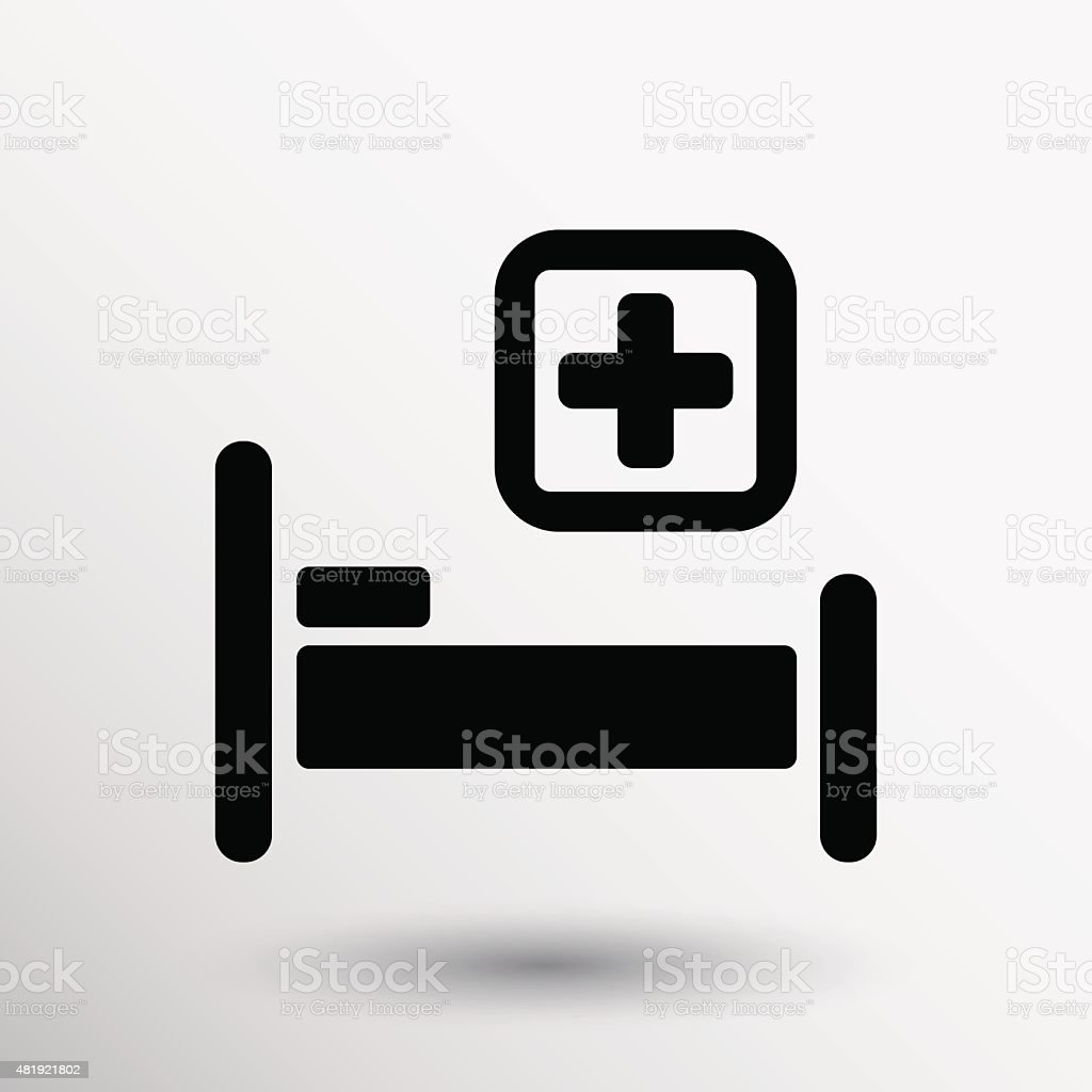Hospital bed and cross, vector icon doctor health care vector art illustration