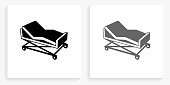 Hospital Bed Black and White Square Icon. This 100% royalty free vector illustration is featuring the square button with a drop shadow and the main icon is depicted in black and in grey for a roll-over effect.