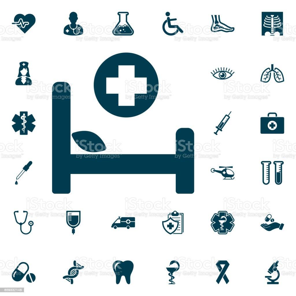 Hospital bed icon, medical set on white background. Health Care Vector illustration vector art illustration