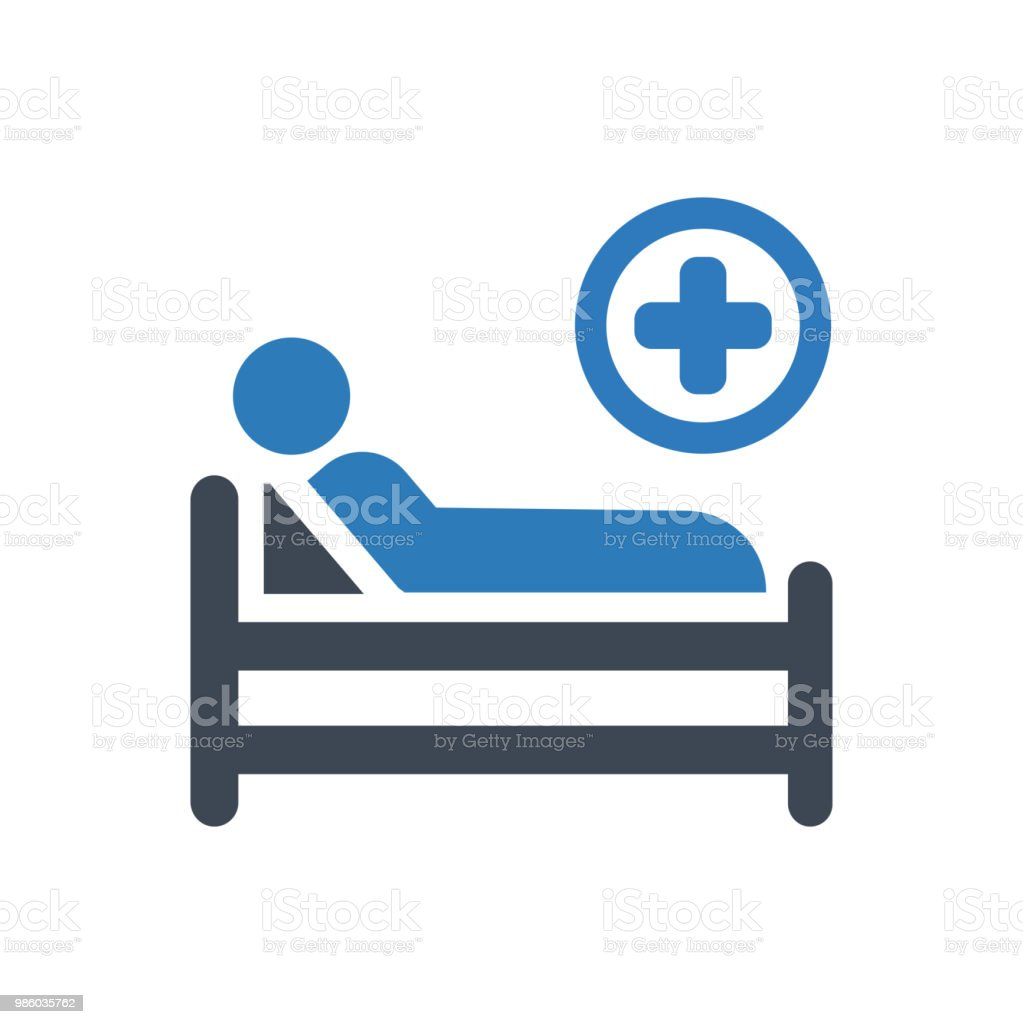 Hospital Bed Icon vector art illustration